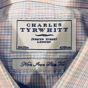 Charles Tyrwhitt Shirts - Charles Tyrwhitt Blue & Pink Plaid Slim Shirt 16.5